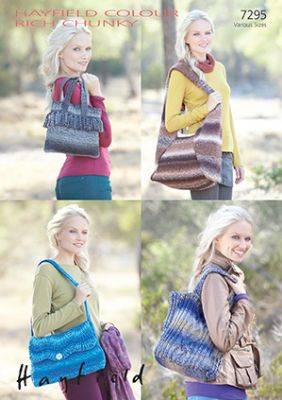 Hayfield Colour Rich Chunky - 7295 Bags Knitting Pattern Knitting Pattern